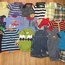 Boy's Clothes Size 0-3 Months 17piece Lot Overalls Rompers Carter's Gap Photo