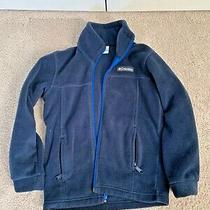Boys Columbia Navy Zip-Up Fleece Jacket Size Xs (6-7) Euc Photo