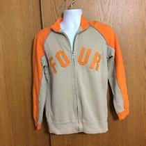 Boys Size Xl (14-16)  Mossimo Tan & Orange Zipper Front Sweatshirt Jacket Photo