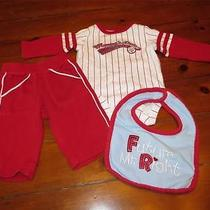 Boys 3 Months Carter's 3pc Red & White Striped Set W/ Baseball Applique Photo