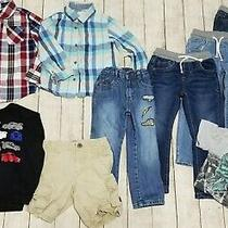 Boys 4t Jeans Plaid Shirts Sweatshirt Cars Baby Gap Denim Shorts Lot of 9 Sz 4 Photo