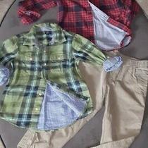 Boys 5 New Nautica Khaki Green Pants 2 Baby Gap Plaid Shirts Long Sleeve Button Photo