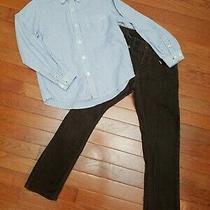 Boys 6 7 Outfit Gap Kids Eland 2 Piece Set Long Sleeve Button Up Shirt Brown  Photo