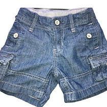 Boys Baby Gap 1969 Denim Chambray Cargo Shorts Size 12-18 M Adjustable Waist Photo