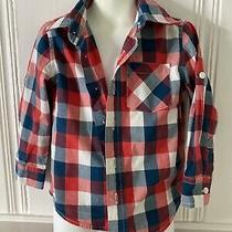 Boys Baby Gap Blue Plaid Long Sleeve Button Up Shirt Top Sz 3t Photo