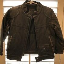 Boys Baby Gap Brown Leather Moto Jacket 3t Photo