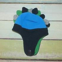 Boys Baby Gap Fleece Dino Spikes Mohawk Blue Dinosaur Winter Flapper Hat S/m Photo
