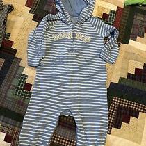 Boys Baby Gap Logo Blue White Striped One Piece Long Sleeve Pants 18-24 Month Photo
