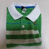 Boys Baby Gap Pique Polo Teddy Bear Logo Green White Striped Preppy Shirt Sz 2t Photo