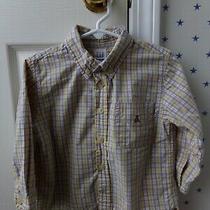 Boys Baby Gap Plaid Button Up Long Sleeve Blue Yellow Dress Shirt Sz 3xl 3 Years Photo