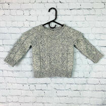Boys Baby Gap Size 3t Cable Knit Sweater Off White/navy Blue Photo