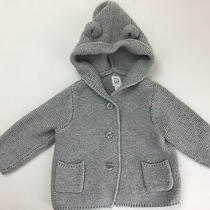 Boys Baby Gap Winter Sweater Size 6-12 Months.  Button Up. Gray Cotton Photo