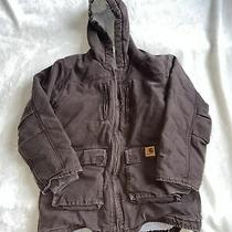 Boys Carhartt Jacket Zip Up Brown Size Large (14-16) 2044a Photo
