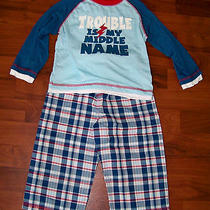 Boys Carter's 2pc Blue Red White Plaid Trouble Is My Middle Name Pajamas Size 2t Photo