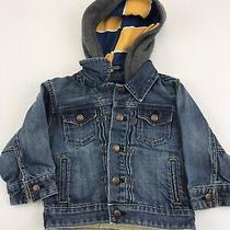 Boys Gap Denim Jacket Hooded Striped Yellow Size 3 Photo