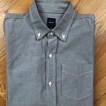 Boys Gap Kids Light Gray Twill Button Front Long Sleeve Cotton Shirt Size Xl/12  Photo
