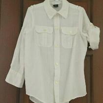 Boys Gap Long Convertible Sleeved Linen White Shirt. Size 4-5 Yrs Photo