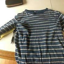 Boys Gap Pullover Knit Shirt Size L (10) Navy and White Stripe Photo