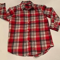 Boys Gap Red Cream and Gray Plaid Long Sleeved Shirt Size 4-5 Photo