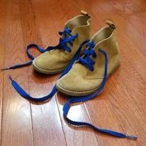 Boys Gap Size 1 Boots Tan Blue Laces Boy Leather Shoes Photo