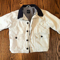 Boys Gap Tan Cache Jacket Size Xs/4 Lined W/buttons Zipper & Pockets Photo