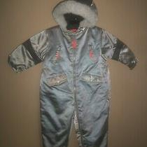 Boys Girls Baby Gap Silver Gray Fleece Lined Hooded Snow Snowsuit 2xl 2t 2 Yrs Photo