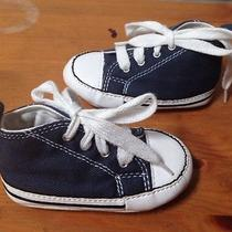 Boys Girls Blue High Top Converse Crib Shoes Newborn Baby Toddler 3 Photo
