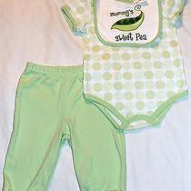 Boys Girls Size 6-9 Months Mommy's Sweet Pea 3pc Shirt Pants Bib Set New  Photo