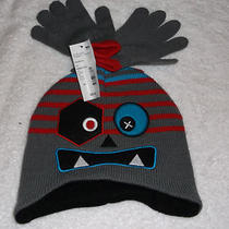 Boys Grey/black /aqua Blue/red 2 Pc Monster Hat/glove Set New With Tags Photo