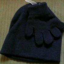 Boys Hat & Gloves Size Os (One Size) 2t and Up- Navy Knit by Wonder Nation Nwt Photo