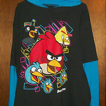 Boys Hoodie Shirt Sz 14-16 Angry Birds black&aqua Blue W/all Birds Nwt     Photo