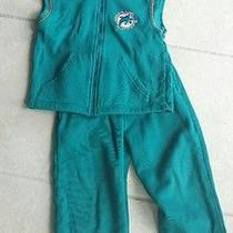 Boys Miami Dolphins Reebok Outfit Size 5 6 5/6 Sweatpants Suit Set Jacket Photo