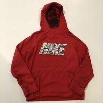 Boys Nike Hoodie Red With Black and White Writing Youth Medium Photo