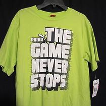 Boys Puma Tshirt Nwt Size X Large 16 18 Green the Game Never Stops  Photo