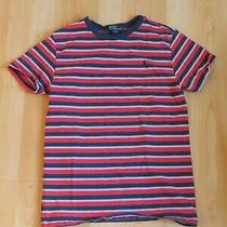 Boys Ralph Lauren Polo Red Blue Striped T-Shirt Size 10 12 Spring Summer  Photo
