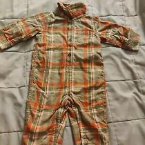 Boys Size 6-12 Months Baby Gap Romper Plaid Flannel Thick Lined Euc Photo