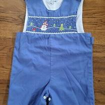 Boys Smocked Romper One Piece Size 2 John John Snowman  Orient Expressed Photo