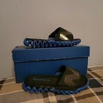 Boys Sz 11 Reebok Zignano Blue Slip on Sandals Slides Beach Pool Flip Flops Used Photo