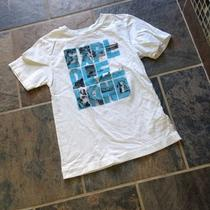 Boys Sz Small Shaun White Graphic Tee Shirt White W/aqua Black Pattern Free Ship Photo