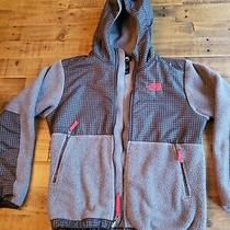 Boys the North Face Hooded Fleece Jacket Coat Size L 14/16  Gray and Red Trim Photo
