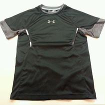 Boys Under Armour Black Shirt Size Small Youth Heat Gear Photo