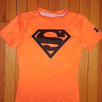 Boys Under Armour Orange Superman Fitted Heat Gear Top Sz Med Youth Photo