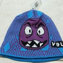 Boys Volcom Beanie/hat Knit Purple Monster Face  One Size Nwt 27 Photo