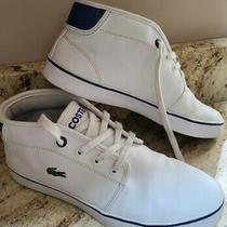 Boys White Lacoste Sneakers Pre-Owned Gently Worn Size 5 Photo