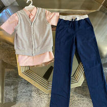 Boys Wonder Nation Outfit Size 7 Vest Dress Shirt Blush Pink Pull on Pants  Photo