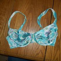 Bra 34c Victoria's Secret Aqua Water Color Satin W Ribbon Straps Uw Barely Used Photo