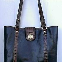 Brahmin Authentic Tuscan Avery Black & Brown Leather Croc Shoulder Bag Photo
