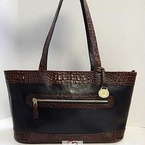Brahmin Black Brown Tuscan Croc Leather East West Satchel Shoulder Bag Photo