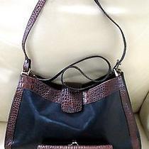 Brahmin Black Brown Tuscan Croc Leather Handbag Wallet Set Shoulder Bag Checkboo Photo
