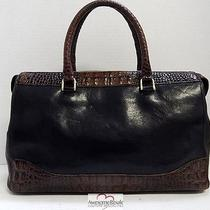 Brahmin Black Brown Tuscan Croc Leather Satchel Bag Photo